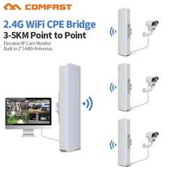 3-5Km Jarak Jauh 300 Mbps Outdoor WiFi Router CPE 2 * 14dBi Antena WIFI Daya Tinggi 2.4G Wifi Repeater RJ45 POE Wireless Bridge
