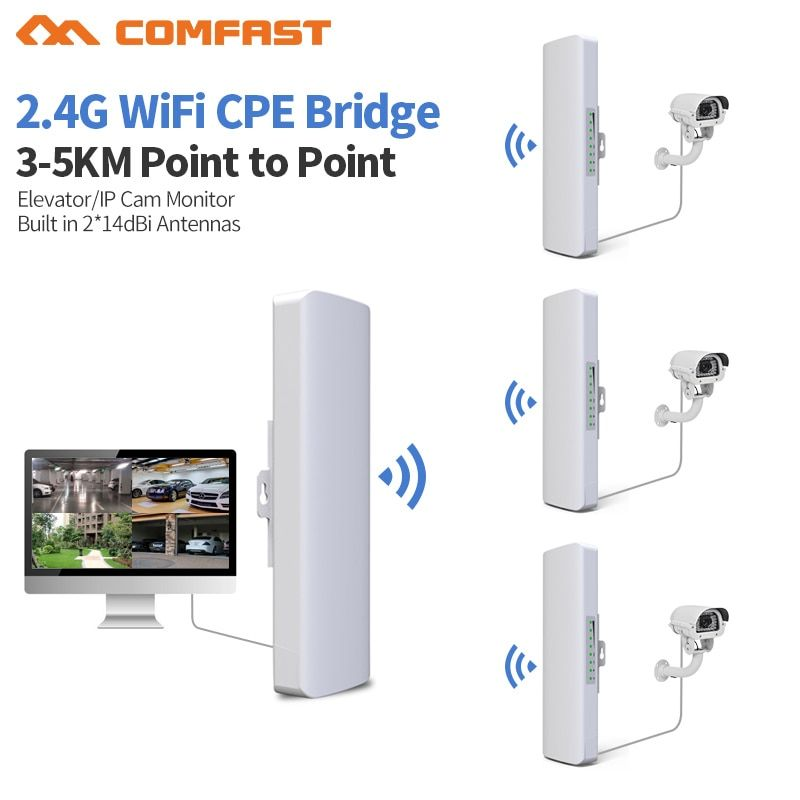 3-5km Long Distance 300Mbps Outdoor Wifi <font><b>Router</b></font> CPE 2*14dBi Wifi Antenna High power 2.4g WIFI Repeater rj45 poe Wireless bridge