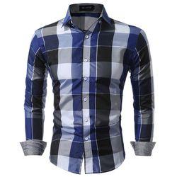 Hommes Chemises Fit Robe Mens Chemises À Carreaux Mâle Vêtements Sociale Casual Chemise Hommes Marque Chemise Homme Grande taille XXXL USNS