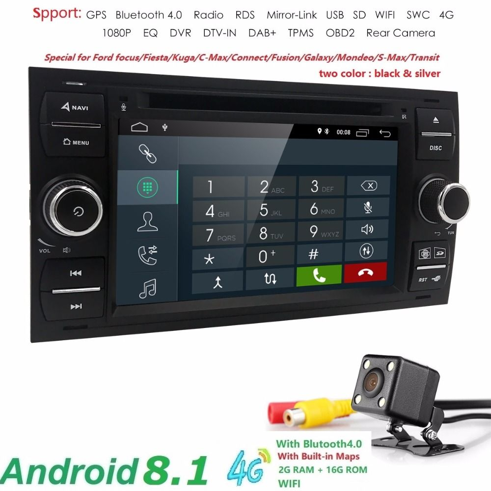 2din Android 8.1 DAB+Car DVD Player In Dash For Ford Transit Focus Connect S-MAX Kuga Mondeo With QuadCore Wifi 4G GPS Bluetooth
