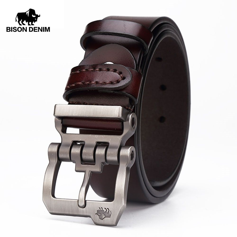 BISON DENIM genuine leather belt for men <font><b>gift</b></font> designer belts men's high quality Cowskin Personality buckle,Vintage jeans N71223