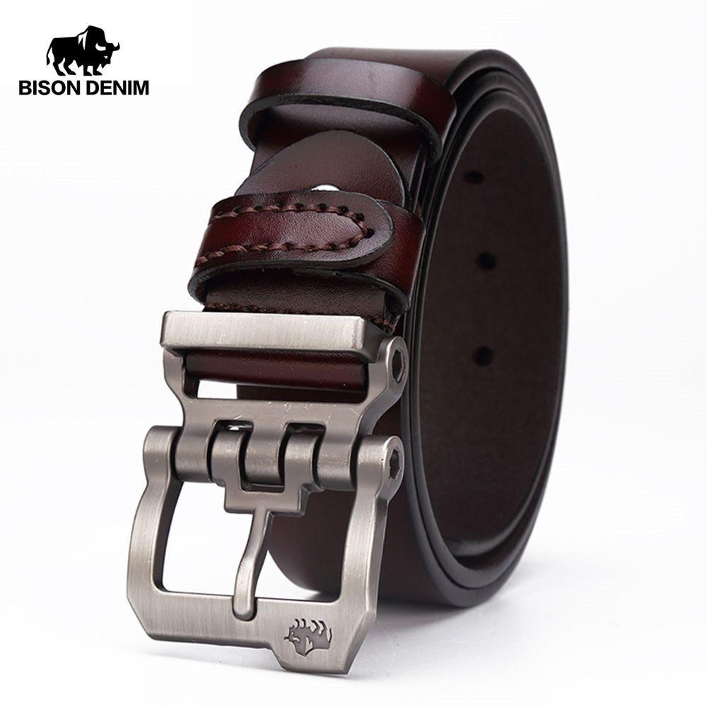 BISON DENIM genuine leather belt for men gift designer belts men's high quality Cowskin Personality buckle,<font><b>Vintage</b></font> jeans N71223