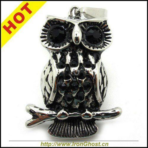 HOT! Rock Punk Biker Stainless Steel High Quality Fashion Women Men Cute CZ Zircon Eyes OWL Pendant Jewelry
