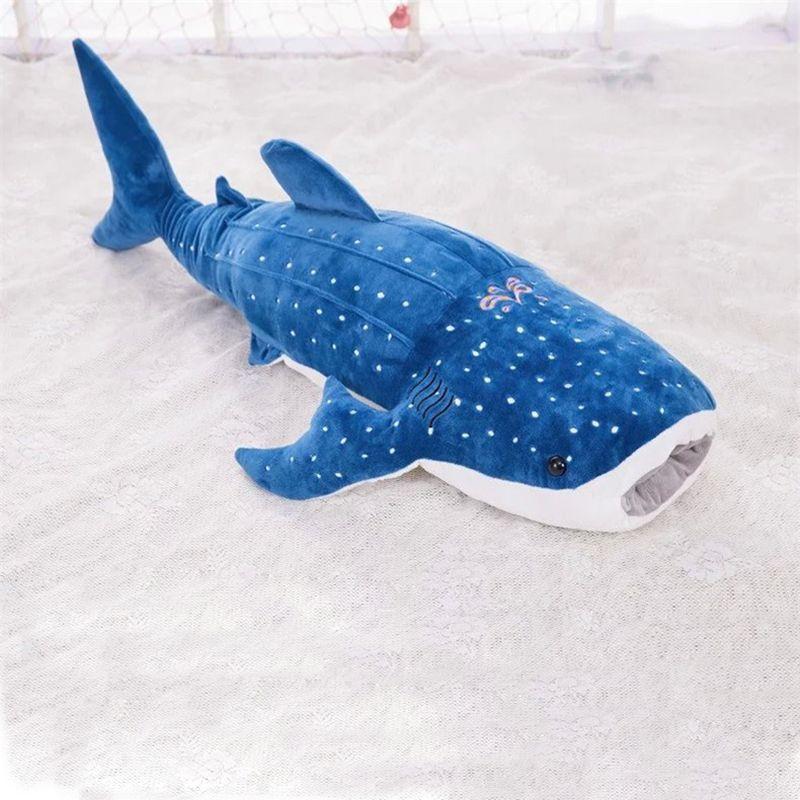 Большой 55 см Акула синий кит плюшевые игрушки стильная футболка с изображением персонажей видеоигр Куклы Мягкие подушки игрушки лучшие дет...