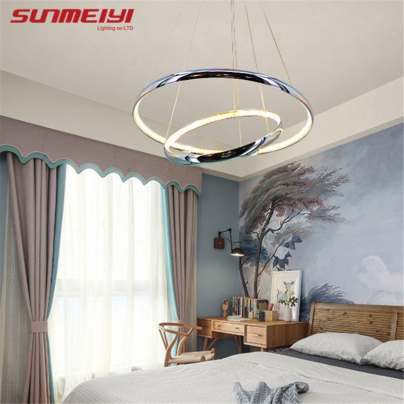 Modern Crystal Aluminum LED Pendant Lights Inside Emit Light Ceiling Hanging Living room Kitchen Luminaire Pendant Lamp