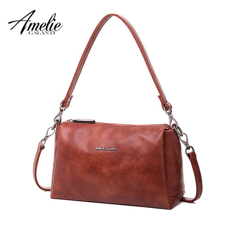 AMELIE GALANTI Ladies bag message shell large capacity a lot of pocket convenient  practical stylish high quality PU versatile