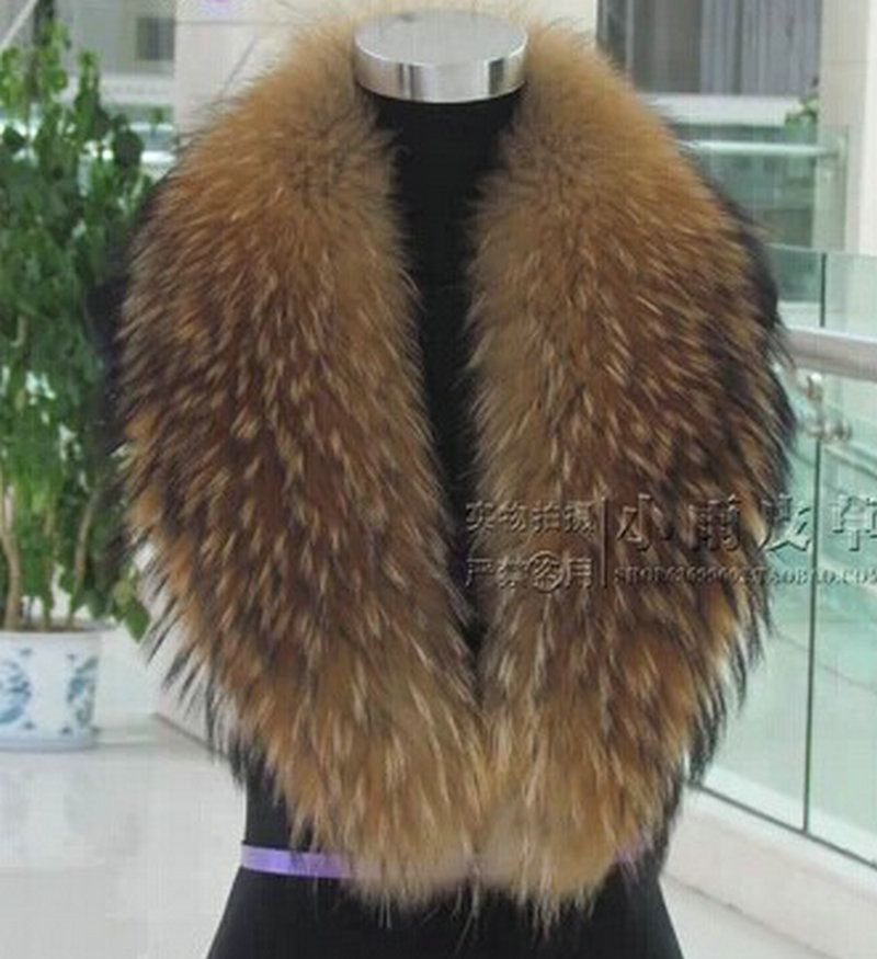 Free shipping Natural raccoon fur collar fox fur collar raccoon fur collar really hat scarf down collars customization