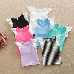 Anak T shirt, Anak-anak 2016 musim panas gadis gaya pakaian rompi, Renda katun lengan kasual anak-anak T shirt, Rompi olahraga, Keluar pakai