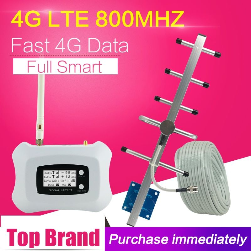 Europe 4G LTE 800mhz bande 20 Signal de téléphone portable 4G FDD LTE ALC 70dB Gain amplificateur cellulaire amplificateur cellulaire répéteur 4G antenne