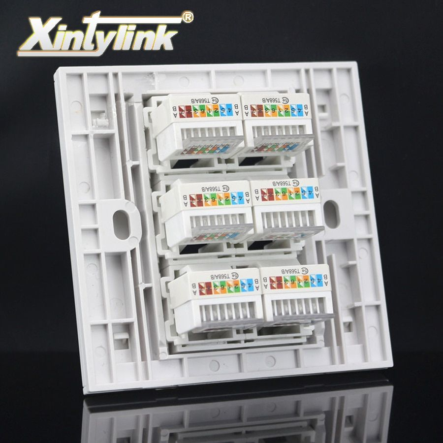 xintylink rj45 Socket jack modular 6 Port cat5e cat6 Keystone Wall Face plate Faceplate toolless white wall socket panel 86mm