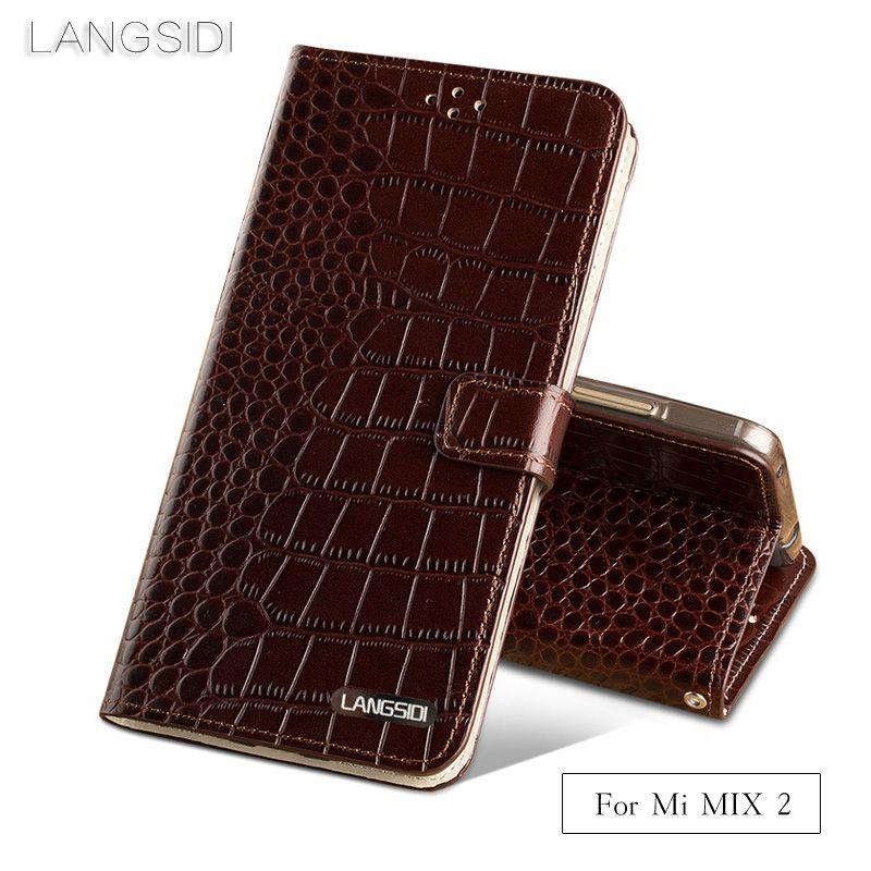 Wangcangli brand phone case Crocodile tabby fold deduction phone case For Xiaomi Mi MIX2 cell phone package All handmade custom
