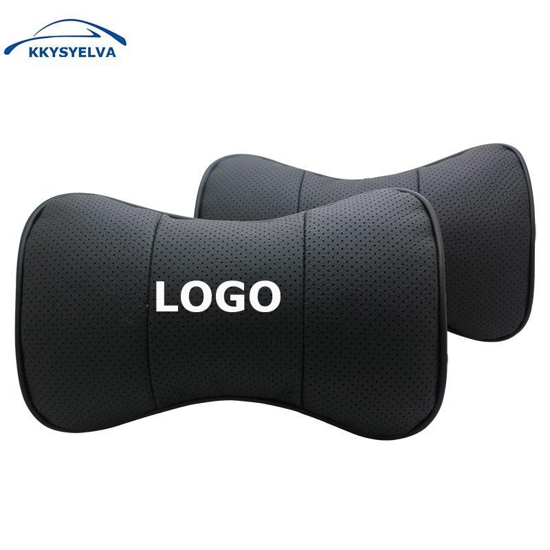 Logo personnalisé noir en cuir véritable voiture cou oreillers Auto siège couverture tête cou reste coussin appui-tête oreiller