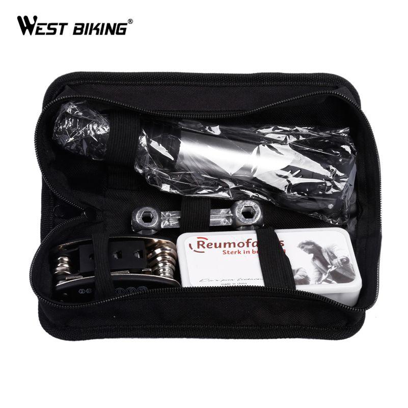 WEST BIKING Bicycle Repair Tools Bag with Mini Bike Pump Multifunction Bicycle Tools Kits Wrenches Tire Repair Tools Bike Tools