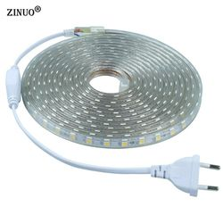 ZINUO 220 V 5050 Flexible Led Light Strip 1 M/2 M/3 M/4 M/5 M/6 M/7 M/8 M/9 M/10 M/15 M/20 M + Plug Power, 60 leds/m IP65 Étanche led Ruban
