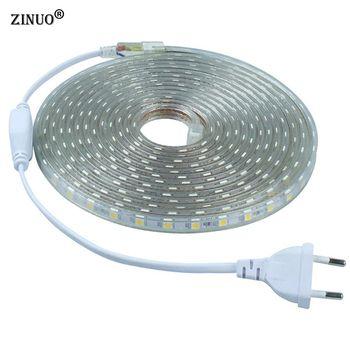 ZINUO 220 V 5050 Flexible Led Light Strip 1 M/2 M/3 M/4 M/5 M/6 M/7 M/8 M/9 M/10 M/15 M/20 M + Plug Power, 60 leds/m IP65 Étanche led Ruban