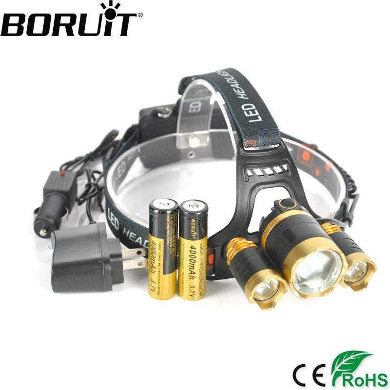 Boruit 10000lm XML T6 R2 светодиодные фары Перезаряжаемые Увеличить фар Охота Кемпинг Фонарь налобный 18650 Батарея фонарик