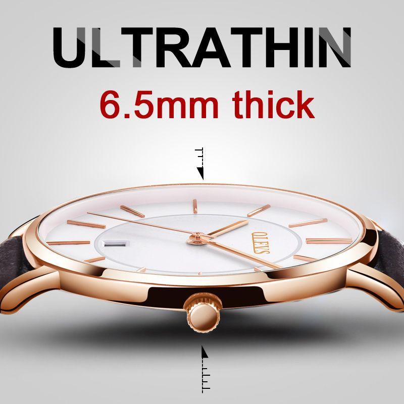 Hot Sale Men Sports Watches OLEVS Luxury Brand Men's Quartz Analog Display Date Watches Casual Genuine Leather Swim Watch Thin
