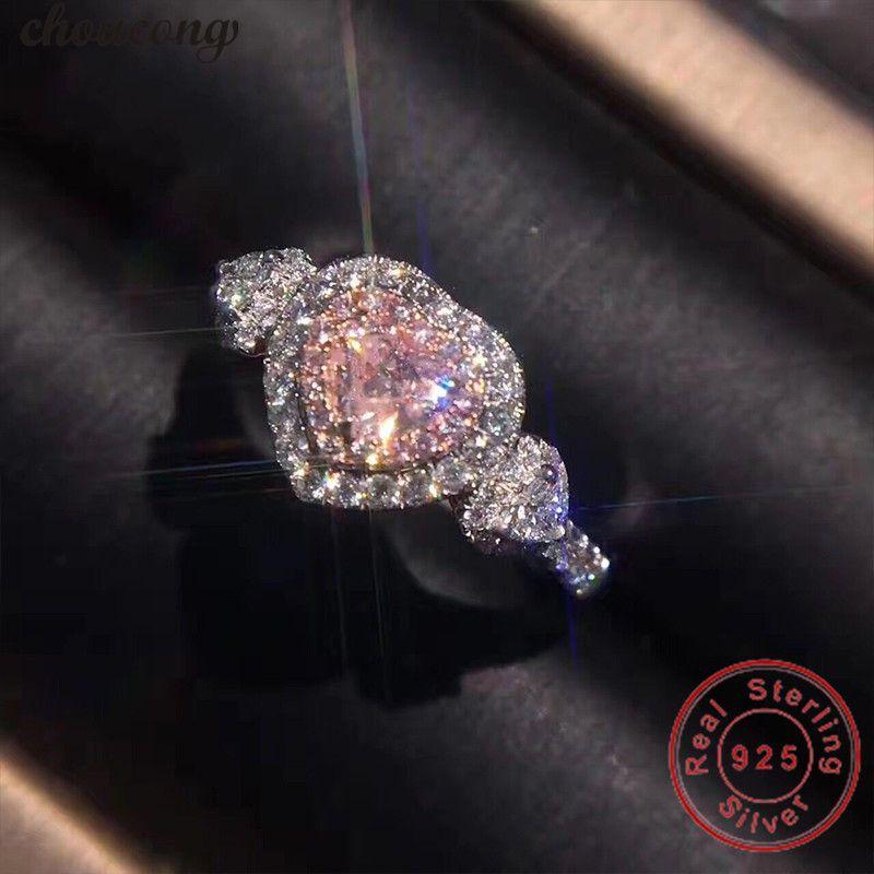 choucong Classic Real Soild 925 sterling Silver ring Heart cut AAAAA Zircon Engagement Wedding Band Rings For Women men Bijoux