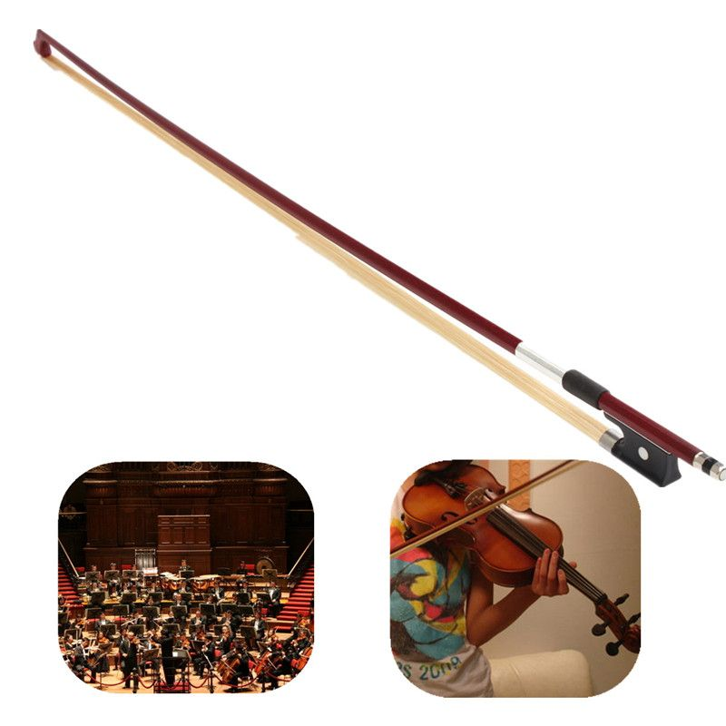 Zebra 73cm 4/4 Black Handle Arbor White Copper Horsehair Violin Bow Durable Exquisite Fiddle Bow For Violin Parts Accessories