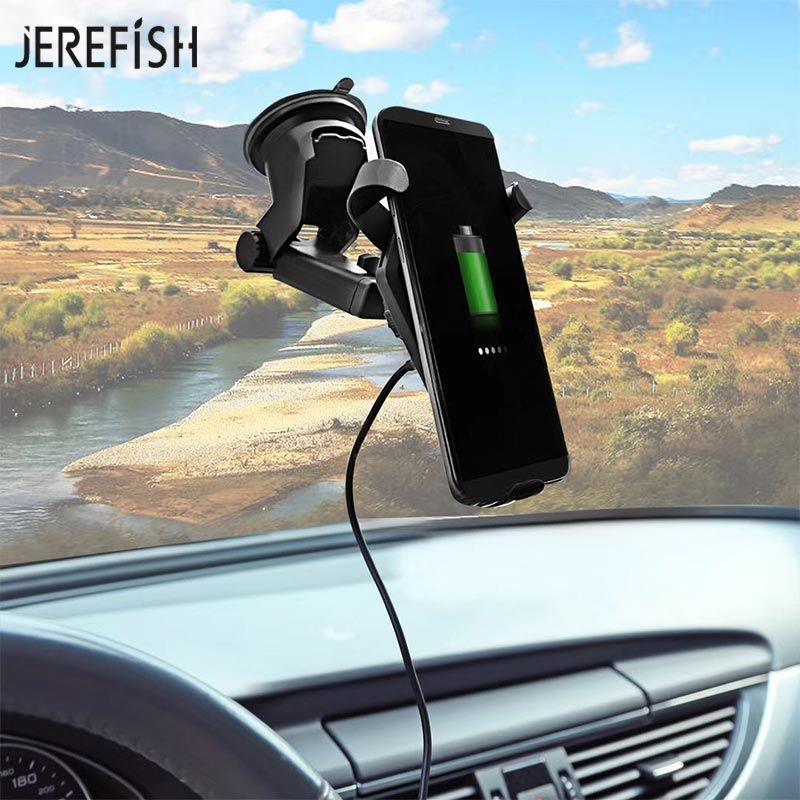 Wireless Charger Windshield Car Phone Mount Charging Pad Holder Transmitter for iPhone 8 8Plus X Samsung Dashboard Car Charger