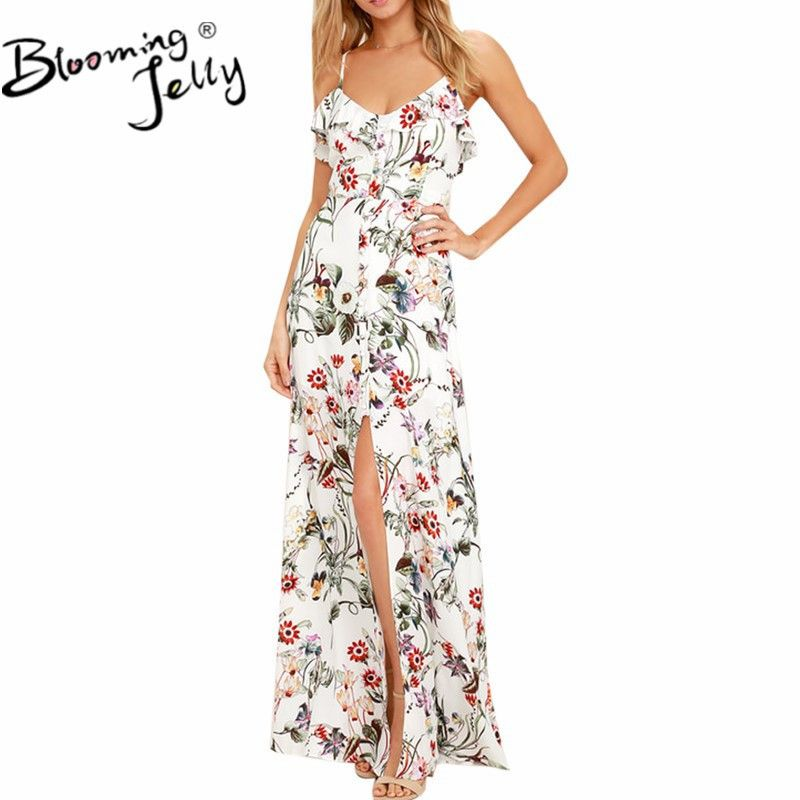 Blooming Jelly Spaghetti Straps V Neck Ruffles Long Dress Ladies Floral Print Boho Summer Maxi Dress Backless Buttons Vestidos