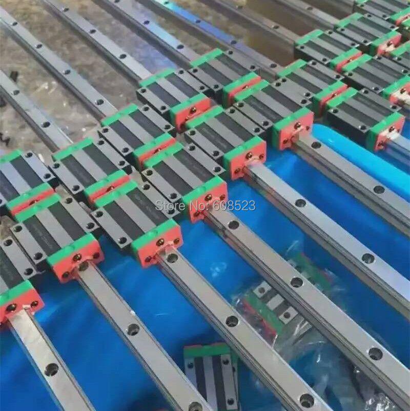 Linear Guide Rail 20mm Linear Rail Guides HB20-800/1200/1500mm 2pcs+8 pcs Flange type Block HBW20CC+9 pcs 15*15*1000mm gear rack