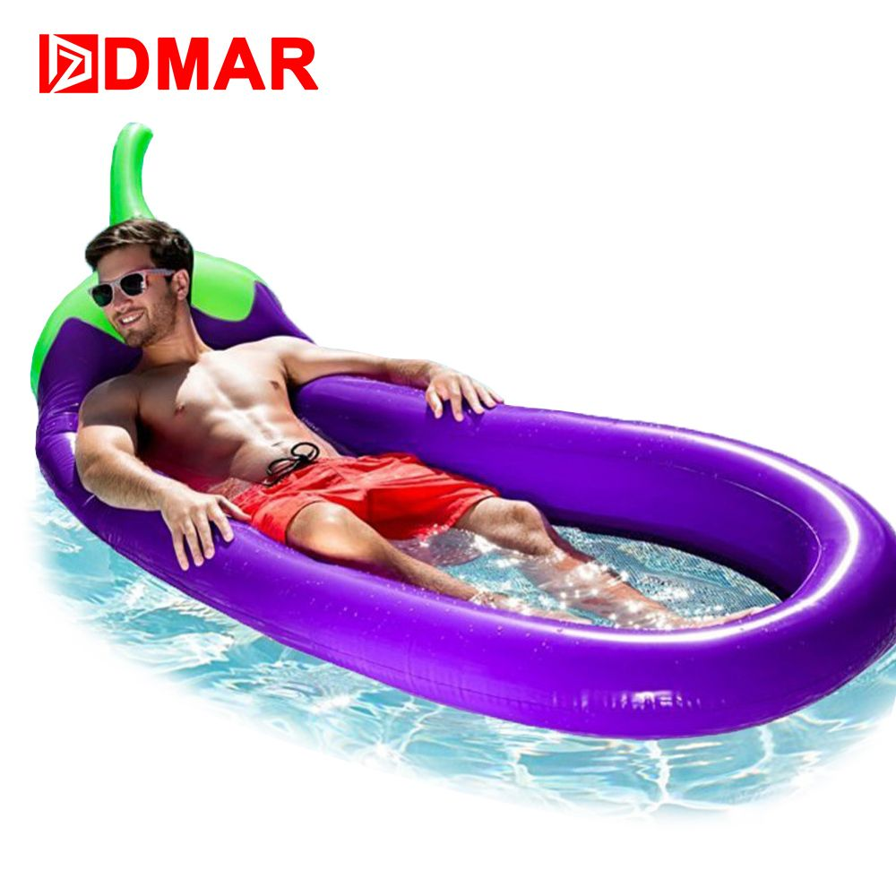DMAR 207CM 81inches Inflatable Giant Eggplant Pool Float MattressWater Party Toys Sunbathe Bed Swimming Ring Circle Beach Mat