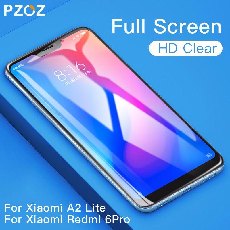 PZOZ Xiaomi Pocophone F1 Glass Mi A1 A2 Lite 8 SE 5X 6X Glass Redmi Note 4 4X 5 Plus Tempered Glass Full Cover Screen Protector