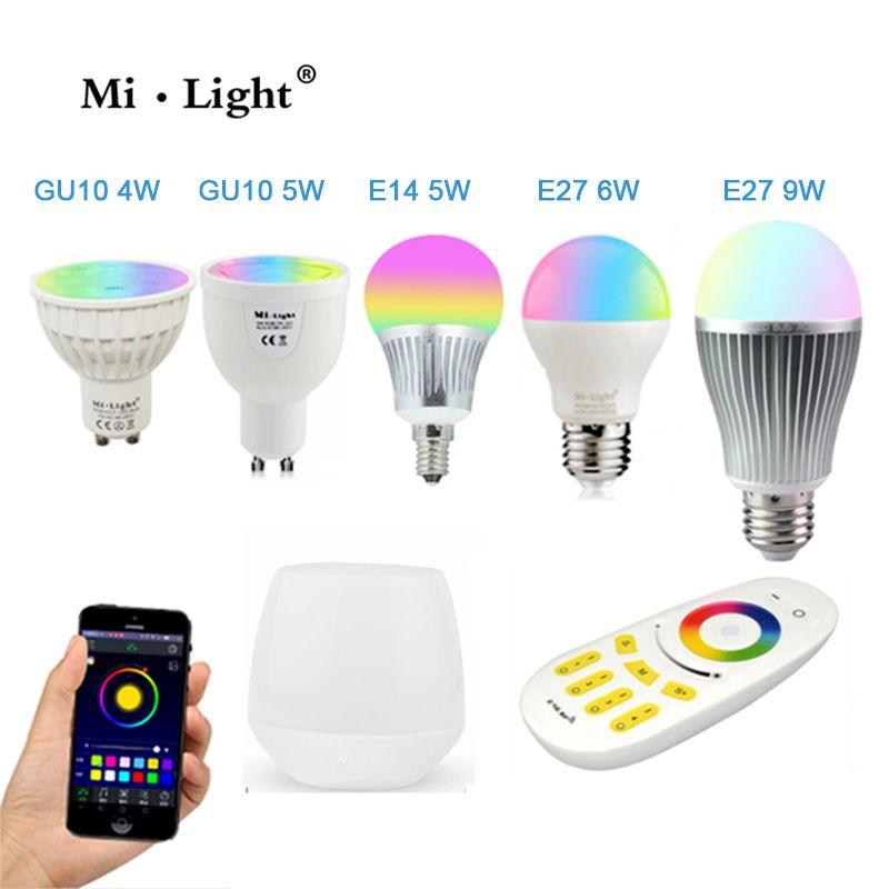 Milight Led Bulb 4W 5W 6W 9W GU10 E27 E14 RGBW RGBWW Lamps Wireless Wifi Controller Box 4-Zone 2.4G RF Remote Controller