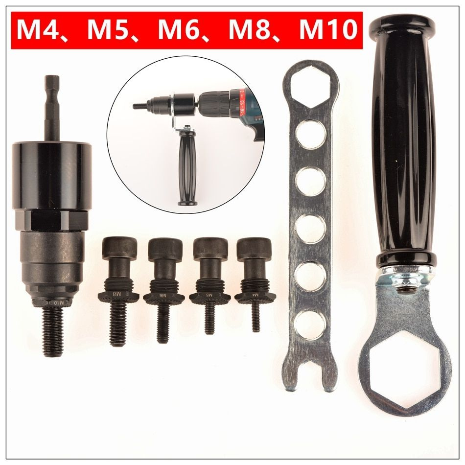 MXITA Riveter M4 M5 M6 M8 M10 Electrical Rivet Nut Gun Steel and Alu Battery Insert Nut Cordless Drill Adaptor Riveting Tools