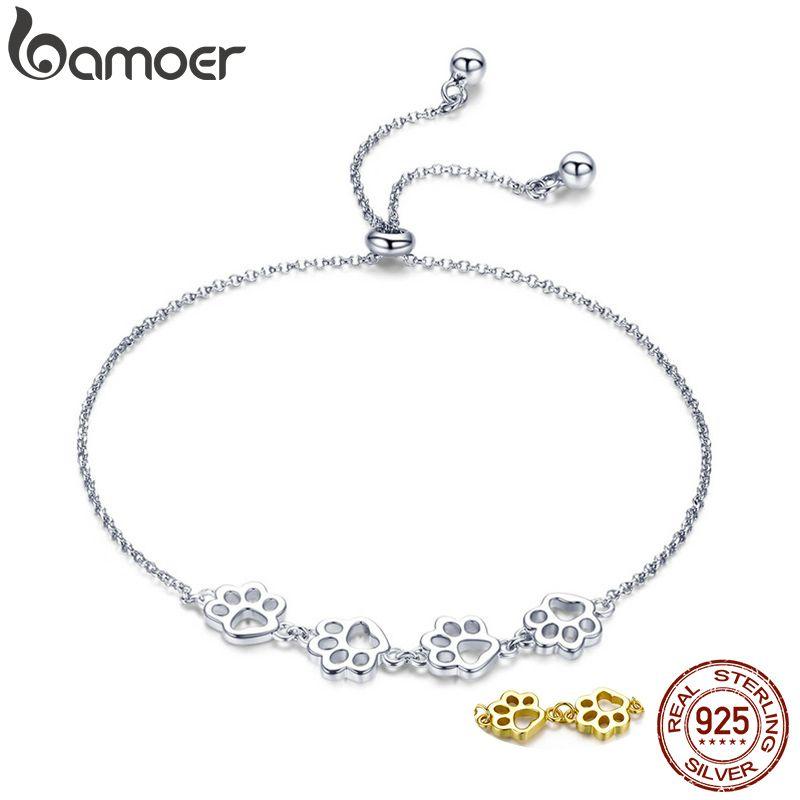 BAMOER nouveauté véritable 925 argent Sterling animaux empreintes chaîne bracelets pour femme saint valentin bijoux cadeau SCB096