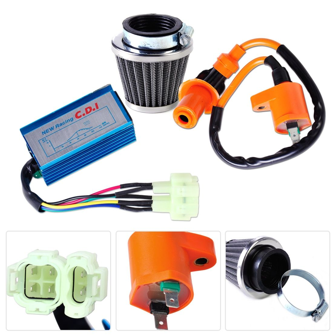 DWCX Motorrad Racing Performance Zündspule + CDI Box + Luftfilter Kit für GY6 50cc 150cc Scooter Moped Go Kart Dirt bike
