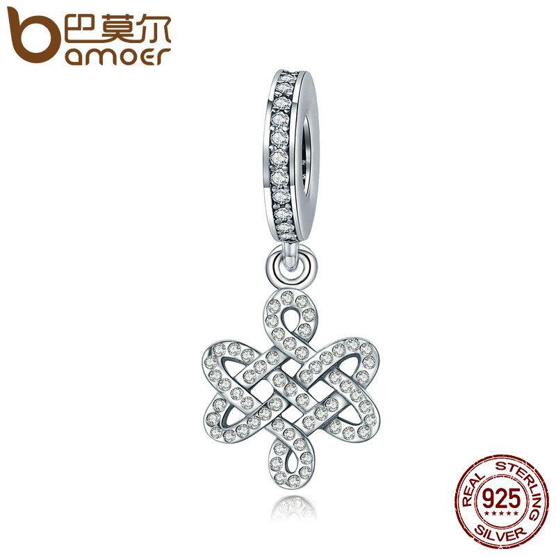 BAMOER Elegant 100% 925 Sterling Silver Chinese Knot & Dazzling CZ Dangle Charm fit Women Charm Bracelet DIY Jewelry SCC270