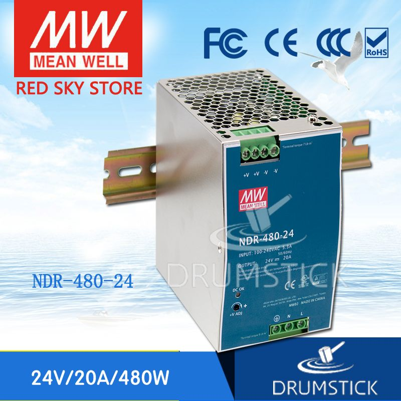 (12.12)MEAN WELL NDR-480-24 24V 20A meanwell NDR-480 24V 480W Single Output Industrial DIN Rail Power Supply