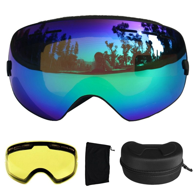 Ski Goggles UV400 Ski Glasses Double Lens Anti-fog Skiing Snowboard Goggles Ski Eyewear With a Box and a Extra Lens