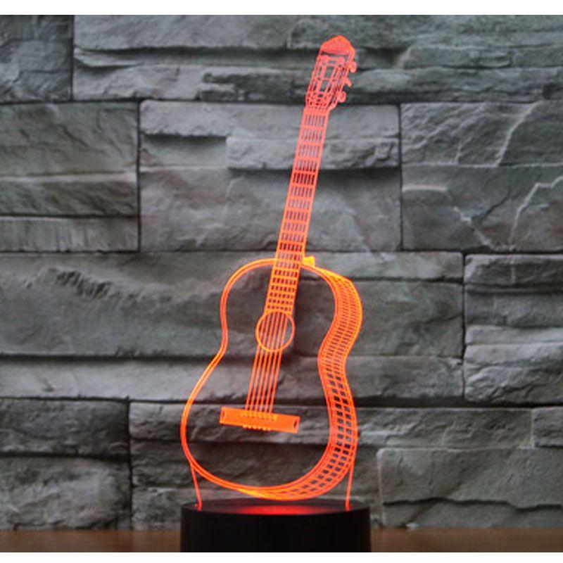 3D LED noche luz música Guitarras con 7 colores para la decoración casera lámpara increíble visualización ilusión óptica impresionante