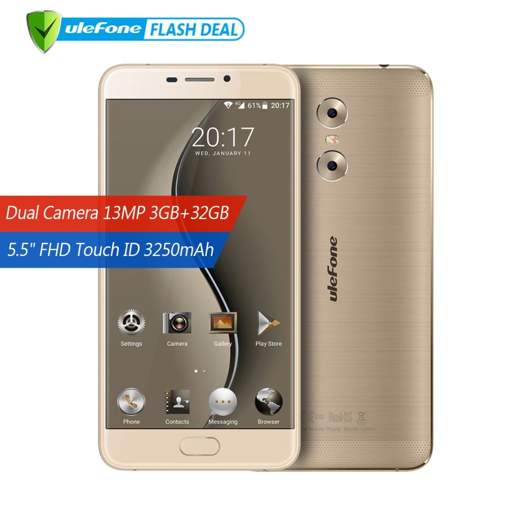 Ulefone Gemini Dual Back Cameras Mobile Phone 5.5 inch FHD MTK6737T Quad Core Android 6.0 3GB+32GB Touch ID 4G Smartphone GPS