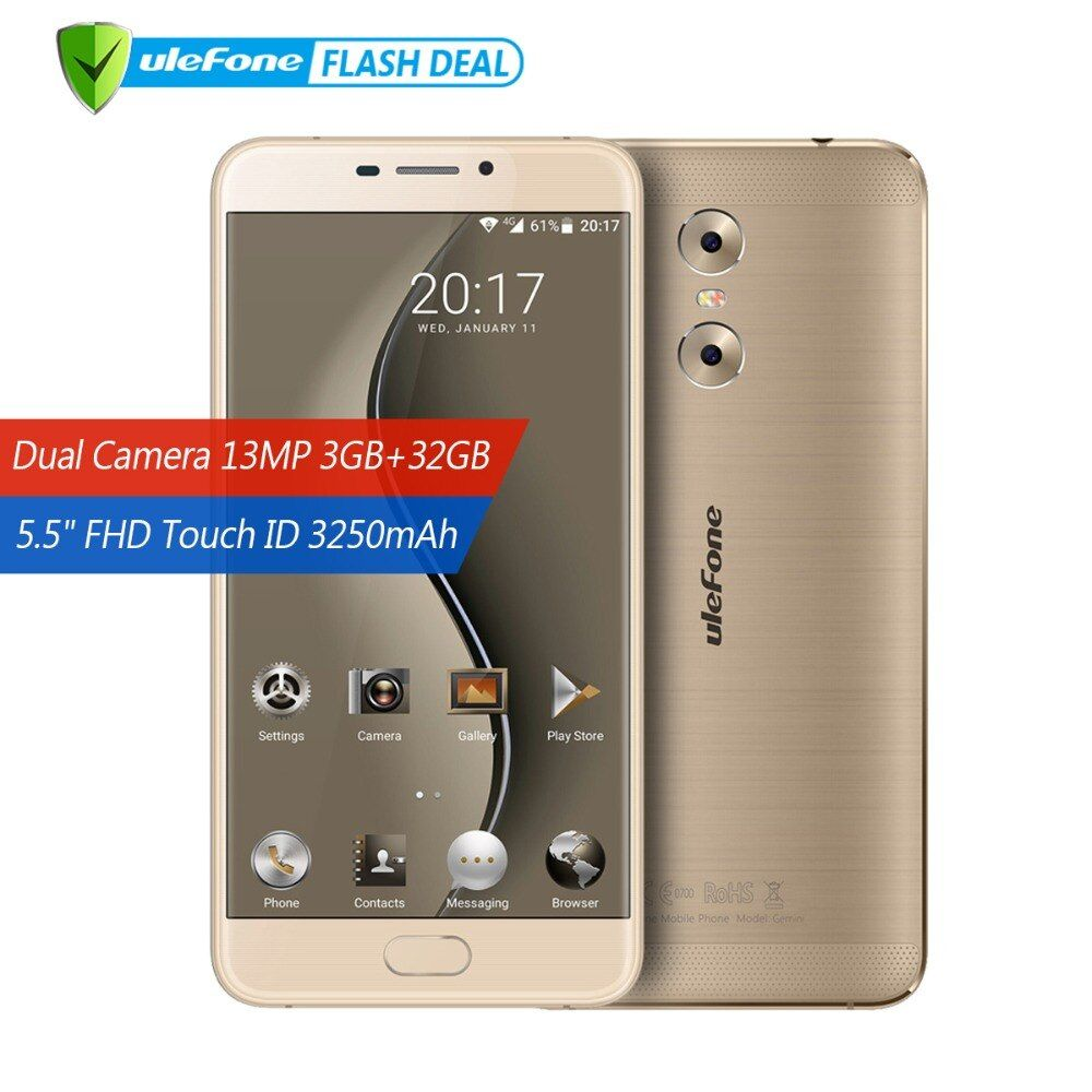 Ulefone Gemini Dual Back Cameras Mobile Phone 5.5 inch FHD MTK6737T <font><b>Quad</b></font> Core Android 6.0 3GB+32GB Touch ID 4G Smartphone GPS
