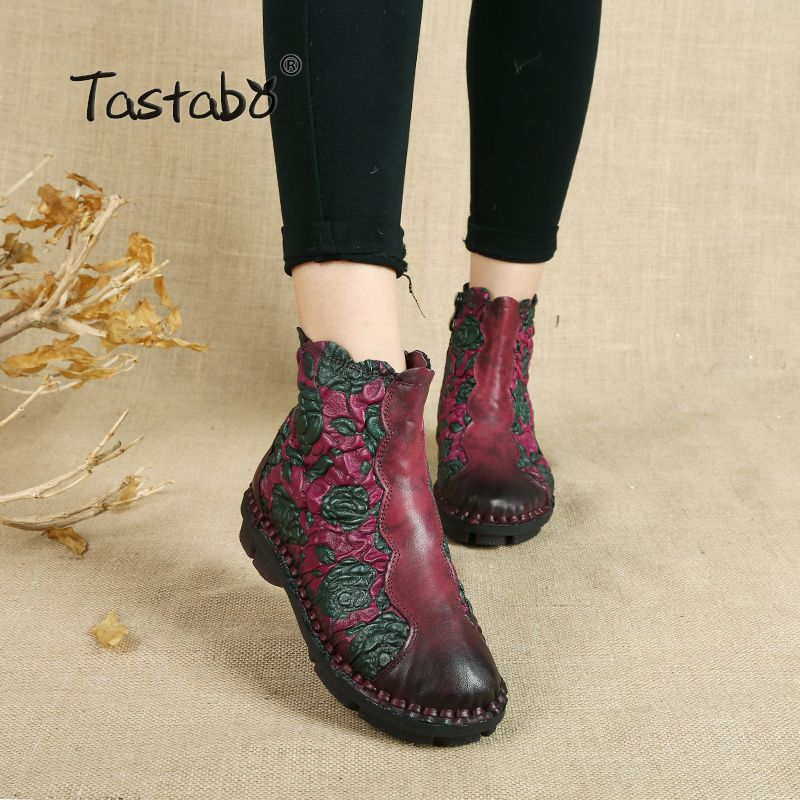 Tastabo Folk Style Martin Boots Genuine Leather Ankle Shoes Vintage Mom Women Shoes Retro Handmade Boots For Women
