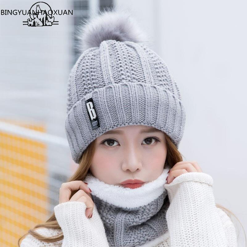 BINGYUANHAOXUAN B letters knitted Hat Women Brand High Quality Winter Women Ball Ski Rabbit Fur Hat PomPoms Hats knitted scarf