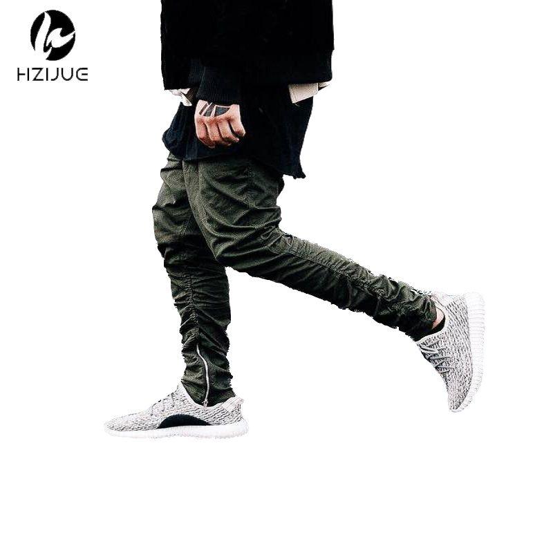 Justin bieber marke stil seitlichem reißverschluss männer slim fit casual herren hip hop jogger biker hosen beute jogginghose röhrenhose olive