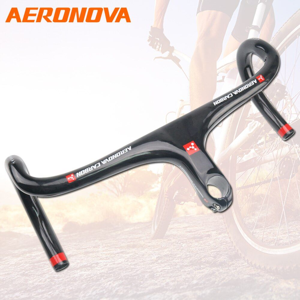 AERONOVA Rennrad Lenker 400/420/440mm Fahrrad Lenker 28,1-29,5mm Carbon Road Fahrrad Lenker integrierte Mit Stamm