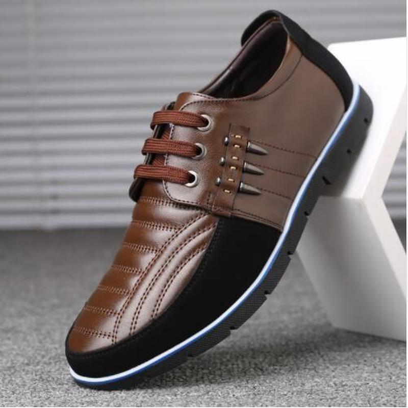 QWEDF hommes chaussures en cuir véritable haute qualité bande élastique mode design solide ténacité confortable chaussures pour hommes grandes tailles ZY-251