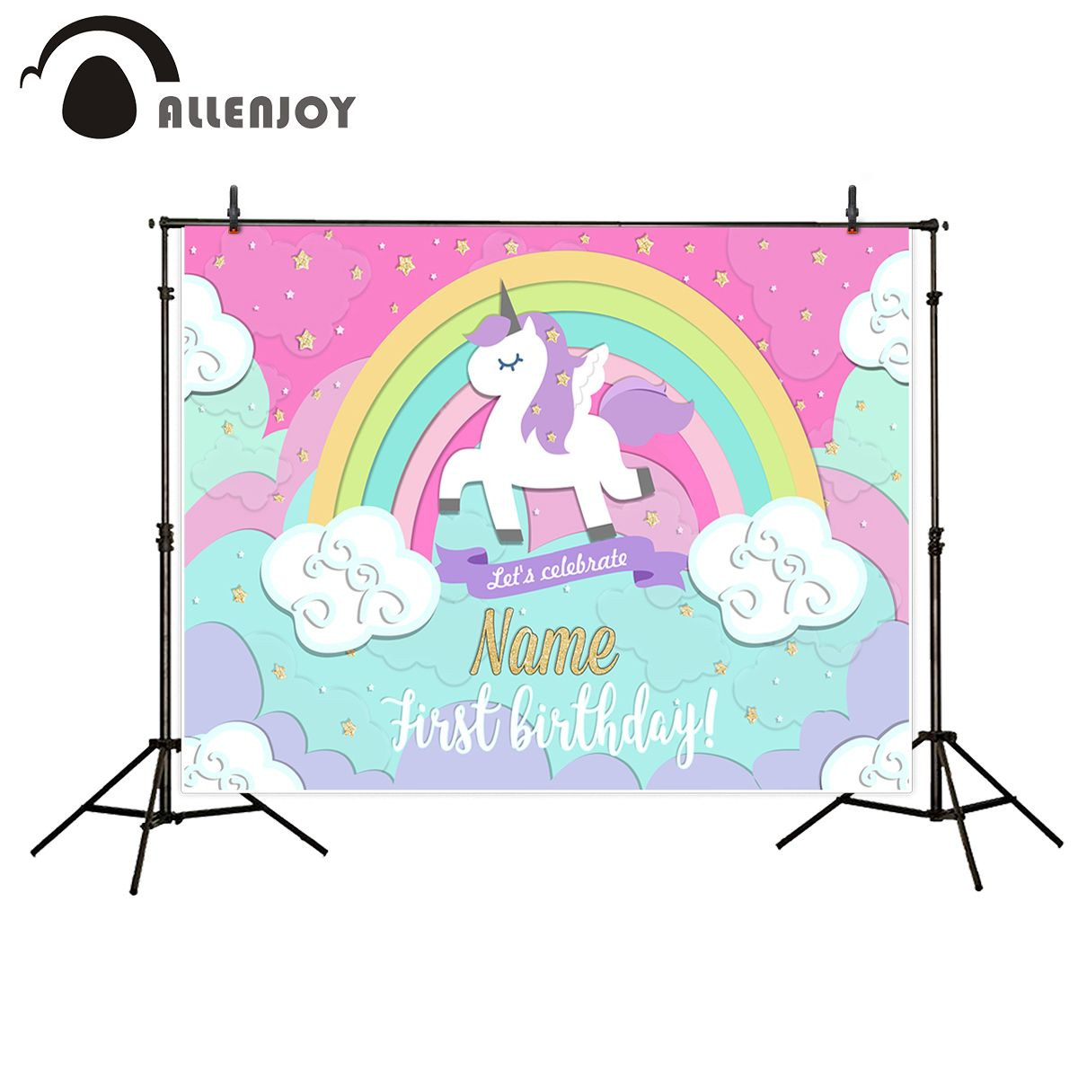Allenjoy photography backdrops unicorn Rainbow stars cloud birthday photo booth for baby background Background for photo