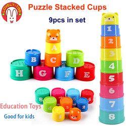 9 Pcs Susun Piala Mainan Babytower Angka Huruf Anak-anak Piramida Melipat Awal Pendidikan Permainan Intelijen