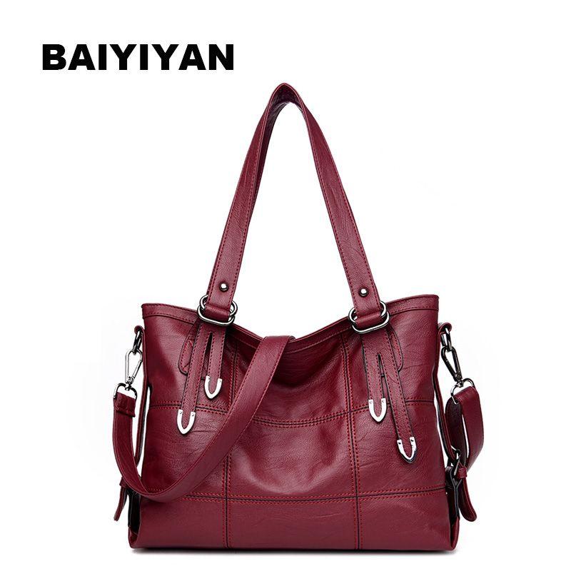 Neue Luxus Handtaschenfrauen-designer Plaid damen Leder Handtaschen Große Casual-einkaufstasche Damen Umhängetasche Frau