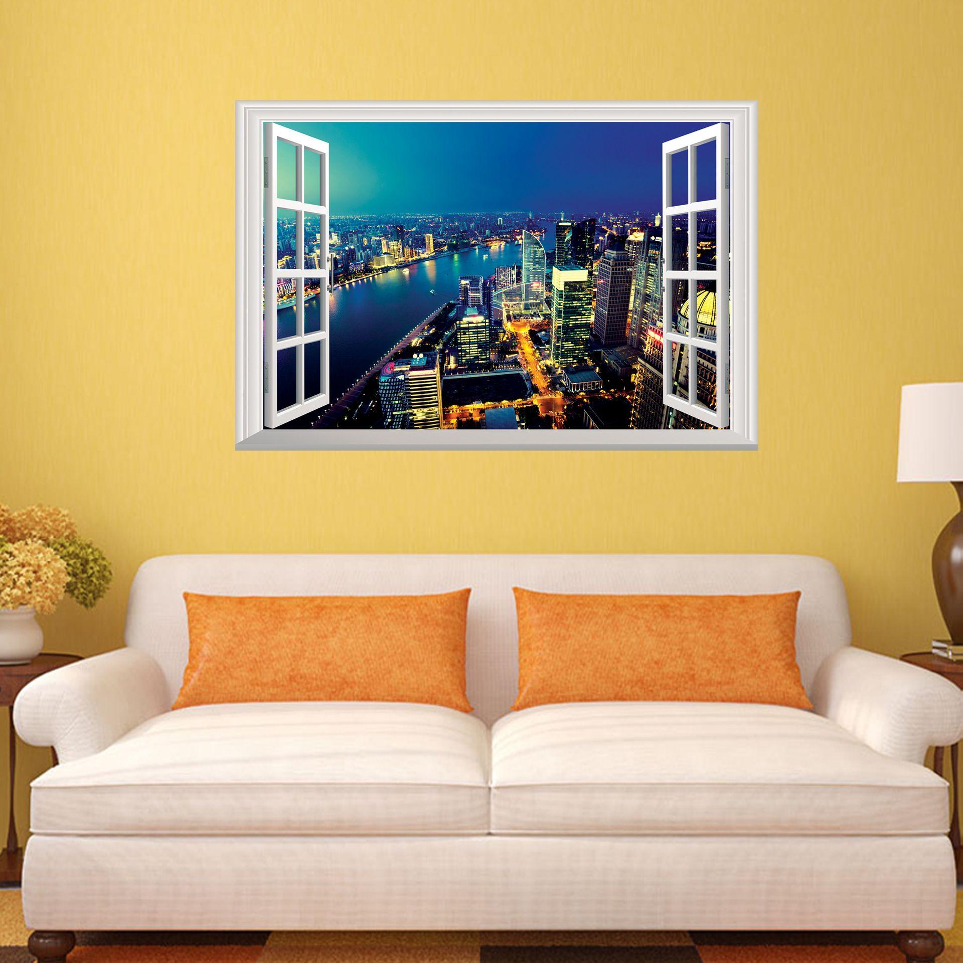 prosperous 3D Wall Sticker Removable Window View Landscape Wallpaper Home Decor  CQ-103