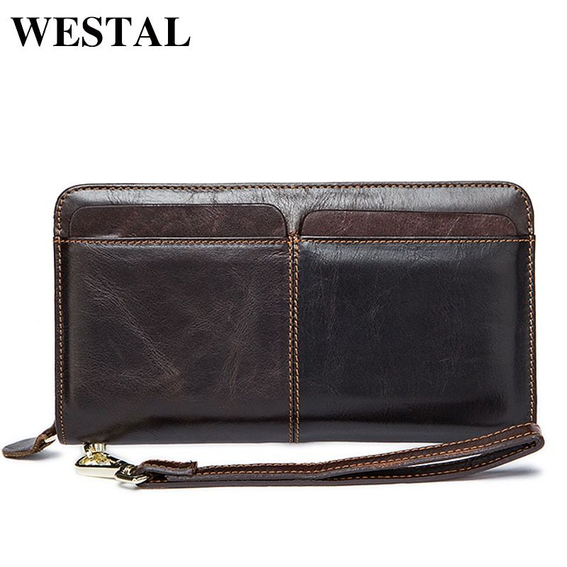 WESTAL Men Wallets Genuine Leather Wallets Clutch Male Purse Long Wallet Men Clutch Bag Phone Card Holder Coin Purse Men 9020