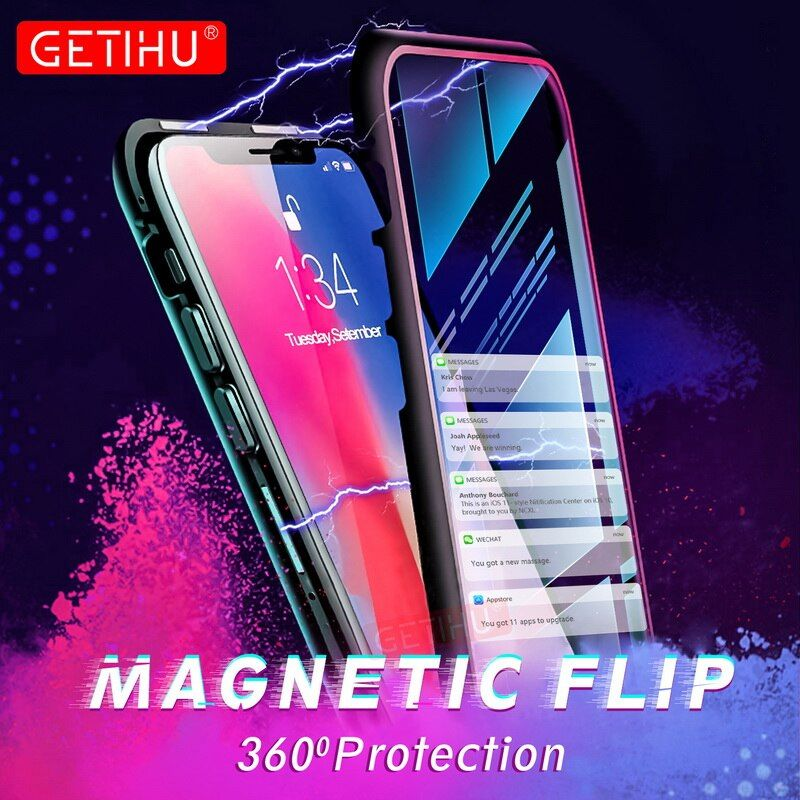 Magnetic Case for iPhone XR XS MAX X 8 Plus 7 + Metal Tempered Glass Back Magnet Cases Cover for iPhone 7 6 6S Plus Case
