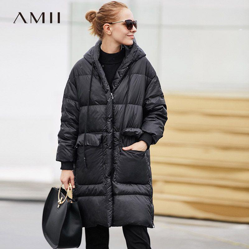 Amii Minimalistischen 2018 Mode Winter Breite taille Große Tasche Knie Länge Frauen 90% Weiße Ente Unten Mantel mit Hoodie